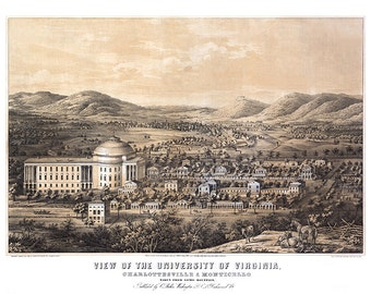 University of Virginia, Charlottesville & Monticello, taken from Lewis Mountain.  Reproduction aerial view map.  VA0008