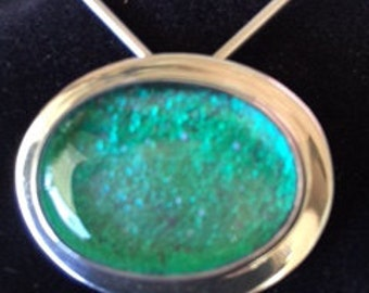 Blue Dichroic Fused Glass and Sterling Silver Pin/Pendant