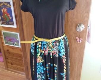 Vintage dress, vintage black dress, 1960's dress, vintage colorful dress. A2