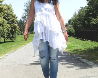 Maxi top, Plus size women top, White top, Oversized top, Ruffle top, Loose top, White tunic