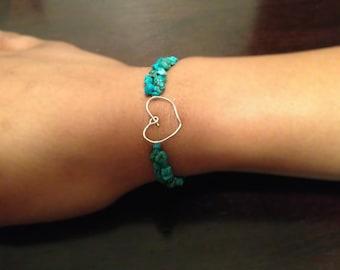 Silver Heart, Turquoise Bracelet