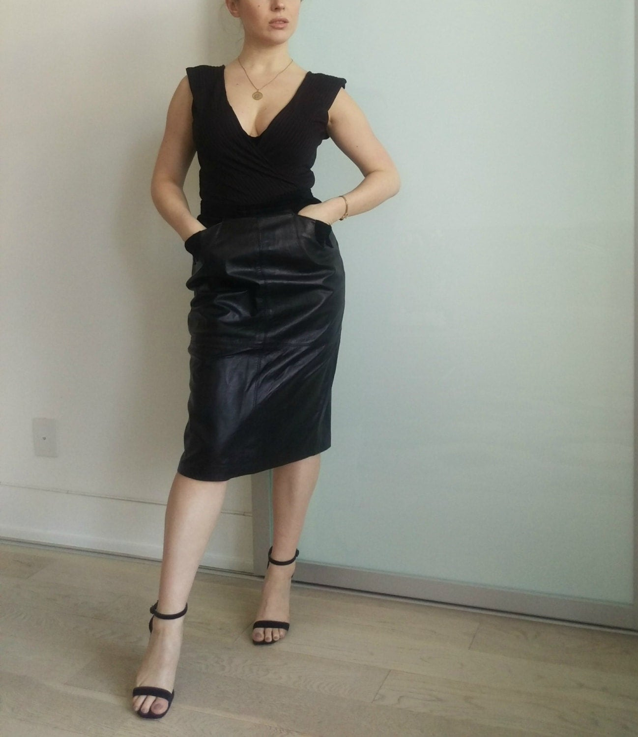 vintage leather skirt with suede details size 8 by