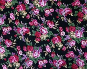 Rayon Challis Roses Print - 100% Rayon Fabric by the Yard