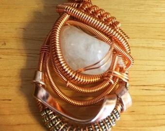 Brazilian Quartz pendant wirewrapped in copper