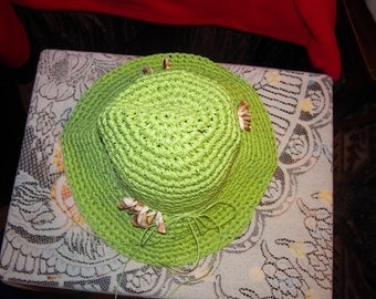 Ladies Green Knit Sun Hat Decorated With Seashells