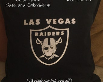 Las Vegas Raiders Pillow Large 20in x 20in, 100% Cotton, Choice of Color Pillow Case/Color for Embroidery!