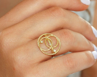 Geometric gold ring, 14K solid gold ring, clear diamonds, inspirational design, gold ring for women, textured ring, gift for her, R014A