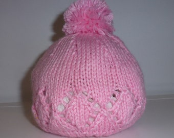 Hand knitted beanie- 3-6 months