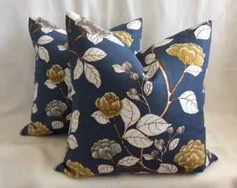 Simple Bloom Designer Pillow Cover Set - Robert Allen Fabric - Dark Blue-Grey/ Gold/ White