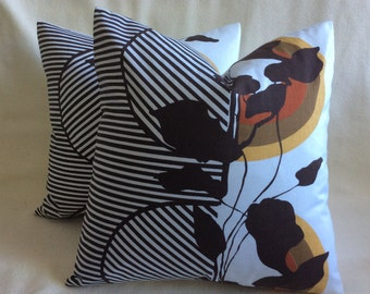 Unique Fall Designer Pillow Covers - Contemporary Sunrise Motif - Brown/ Gold/ Rust - 18x18 2pc Set