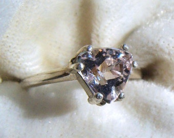 Goshenite White Beryl Trillion Ring in Sterling Silver