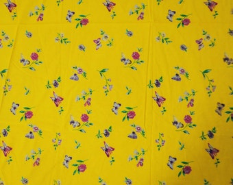 """42"""" Wide Pure Cotton Material Floral Printed Yellow Indian Decorative Curtain Making Apparel Material Sewing Craft Fabric By 1 Yard ZBC5100"""