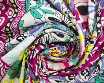 """Indian Sewing Cotton Floral Printed Fabric 42"""" Wide Crafting Purpose Multicolor Pure Cotton Dress Making Apparel Fabric By 1 Yard ZBC4784"""
