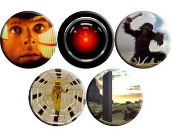 Set of FIVE 2001 A Space Odyssey film badges (1968) handmade film / movie badge set [Stanley Kubrick]