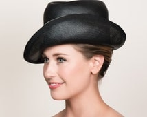 1960s Vintage Hat in Shiny Black Straw / Women's Fedora Variation with High Crown and Asymmetrical Brim / Black and White / Mod Hat