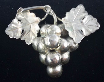 Vintage Mexico Sterling Grape Cluster brooch