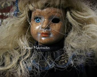 Melanie- OOAK horror art doll, creepy porcelain doll, arachnophobia, spiders