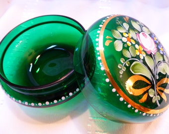 Vintage Handpainted green glas Jewelry Box from Germany