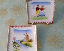Vintage Wall Plaques, Dutch Holland Scenes, Ceramic Wall Plates, Gift Woman Lady Her, Birthday Gift, Windmill, Dutch Boy Girl, Retro Home