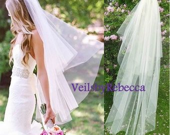 Ready to Ship Veils,2 tiers fingertip tulle veil, blush tulle veils, simple blusher tulle veil, tulle wedding veils, tulle bridal veils V603