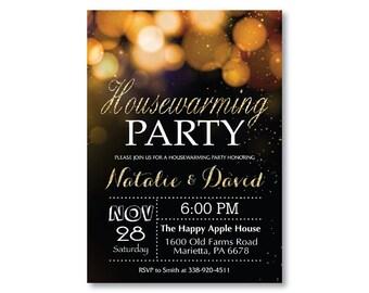 Housewarming Party Invitation. Gold Housewarming Invitation. New Home Moving. Gold Glitter Bokeh. Glam. Black and White. Printable Digital.