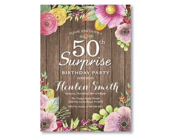 Surprise 50th Birthday Invitation for Women. Rustic Birthday. Watercolor Floral Flower. Pink Purple Yellow. Any Age. Printable Digital.