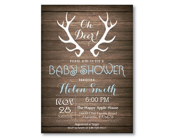 Deer Baby Shower Invitation. Rustic Deer Antler Baby Shower Invitation. Rustic Wood. Baby Boy or Girl Shower. Blue Pink. Printable Digital.