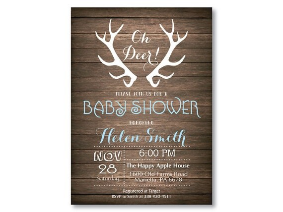 deer baby shower invitation rustic deer antler baby shower invitation