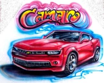 Camaro shirt, Custom car t shirt,  car shirt, custom tees, custom airbrushed car, man cave pillow, gift for him, airbrush cars