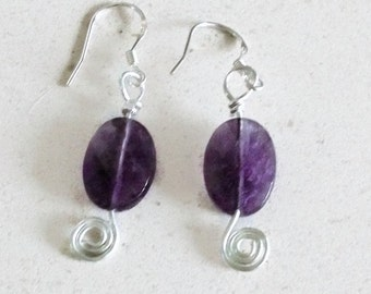 925 Sterling Silver handmade earrings,Amethyst gemstones,purple,drop,mother daughter wife gift,jewellery,silver jewelry