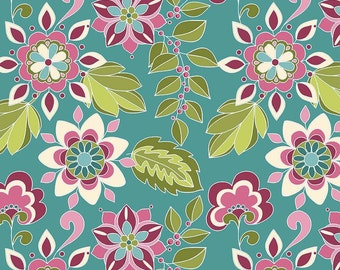 Botanique Flowers Teal by Riley Blake Designs - Floral Purple Pink - Quilting Cotton Fabric - by the yard fat quarter half