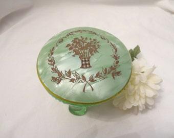 Green Drepression Powder Box made by Heisey