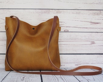 Rustic medium size crossbody bag, real leather, slouchy cross body, shoulder bag, leather purse