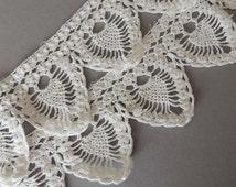 "Pineapple Crochet Edging, Vintage Cotton Hand Crochet Lace Edging, 45"" Crochet Trim, Towel Trim, Towel Edging, White Cotton Crochet Edging"