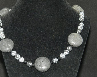 Snowflake Obsidian and Lava Rock Necklace