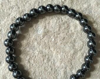 Hematite & moonstone 6mm bracelet