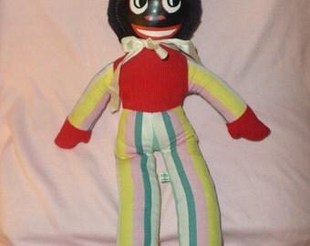 "Vintage Golly Doll Joy Toys plush Vinyl face Australia  60's   15"" Golliwog red shirt shiney striped pink yellow blue"