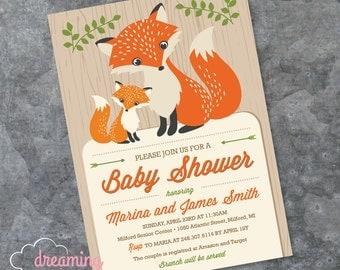 Fox Baby Shower Invitation - Mama and Baby Fox