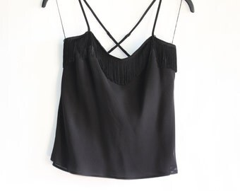 Vintage LAUREL Women's Black Silk Tank Top with Tassels Across the Top (front and back) - with liner - Size EXTRA SMALL