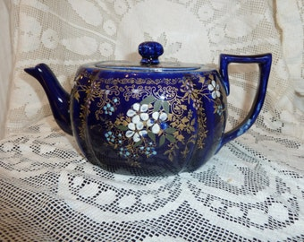 Bright Blue Shabby Chic Style China Teapot Vintage Retro