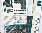 November Planner Stickers - Greens and Blues Monthly Kit.. Erin Condren Planner Stickers.