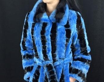 Luxury gift/ Blue/black /Mink fur coat/ Wedding,or anniversary present