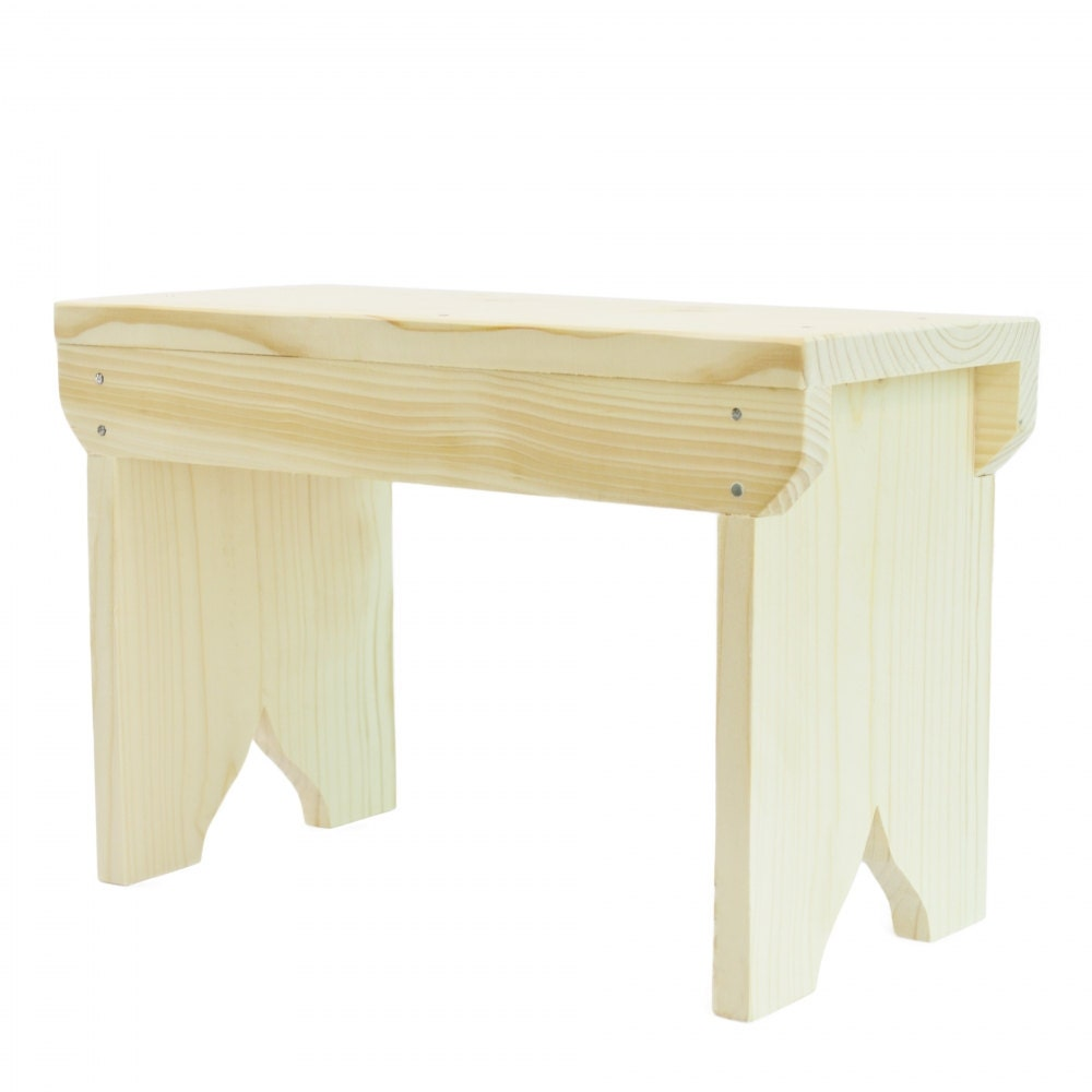 Small Wooden Stool Rustic Shabby Chic Rectangle By