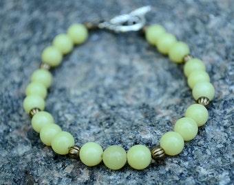 Jade bracelet, Beaded jade bracelet, Genuine jade bracelet, Jade gift, Jade jewelry, Olive green jade bracelet, Buy one get one free.