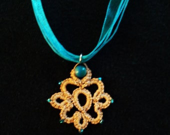 Tatted Lace Necklace - Blue