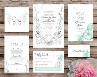 Printable Wedding Invites - Customizable Wedding Invitations - DIY Wedding Invitation Suite -  Midnight Mint