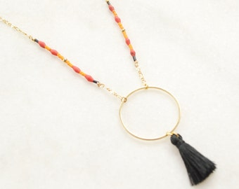 Indian Dream Circle Necklace with a black Tassel - Boho Multicolor Necklace - Boho Chic Jewelry