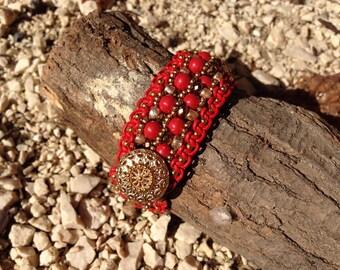 leather rope bracelet swarovski pearls metal crystals.