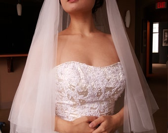 Bridal Wedding White 2 Tier Simple Veil Raw Edge Fingertip Length Ceremony Accessory READY TO SHIP