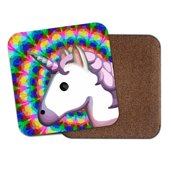 Unicorn emoji trippy rainbow coaster - Cute coaster 2S015